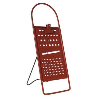Red Grater Shaped Recipe Holder with Clip Metal Vintage Look