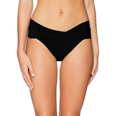 Robin Piccone Women's Ava Twist Bikini Bottom, Black, XS