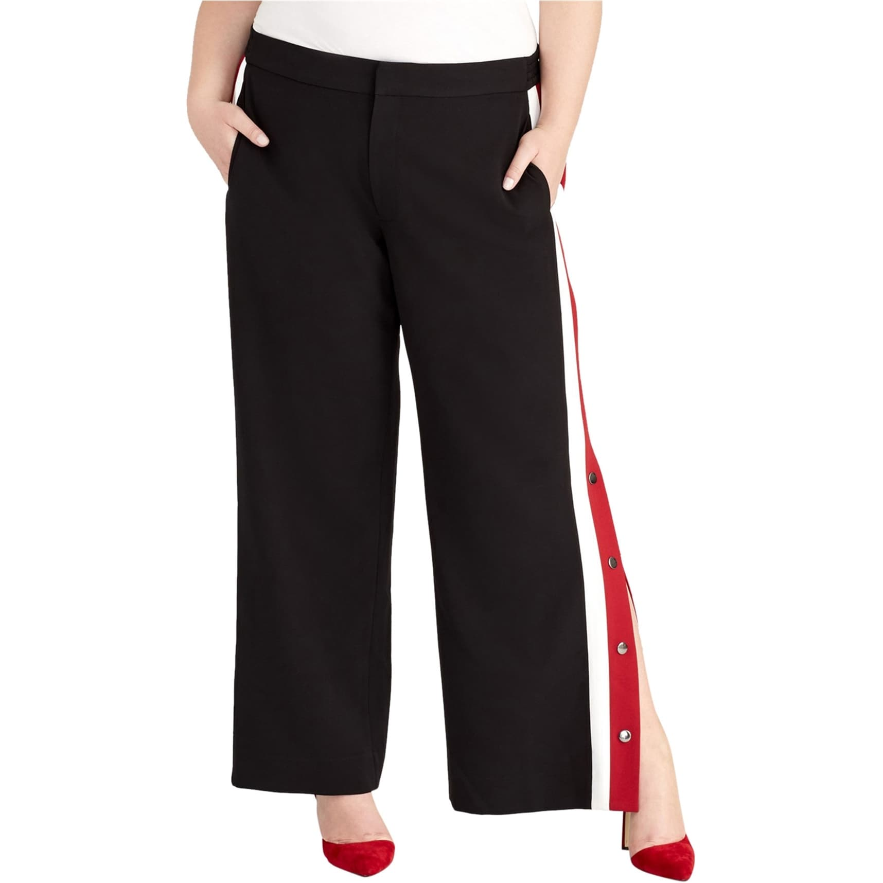 20W Rachel Roy Womens Addison Casual Wide Leg Pants Black