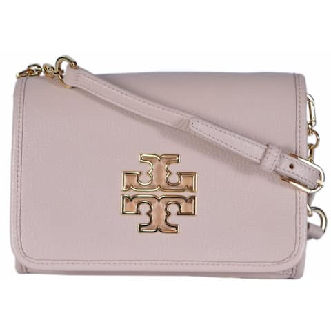 Tory Burch 31159880 Light Oak Pink Leather Britten Combo Crossbody Purse Bag