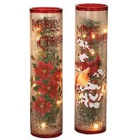 Gerson 2155480 Assorted Electric Lighted Christmas Crackle Glass, Multicolored - Multi-color