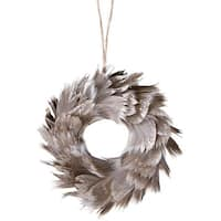 """6"""" Urban Nature Champagne Glittered Grey Feathered Wreath Christmas Ornament"""