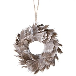"6"" Urban Nature Champagne Glittered Grey Feathered Wreath Christmas Ornament"