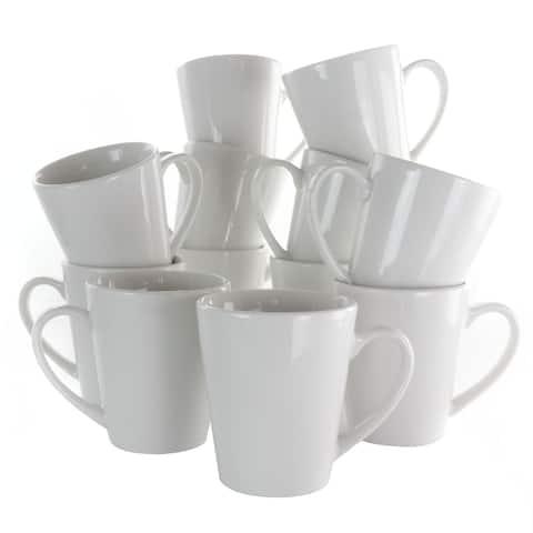 Elama Holt 12 Piece 10 Ounce Porcelain Mug Set in White