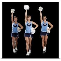 Poster Print entitled Studio shot of cheerleaders dancing