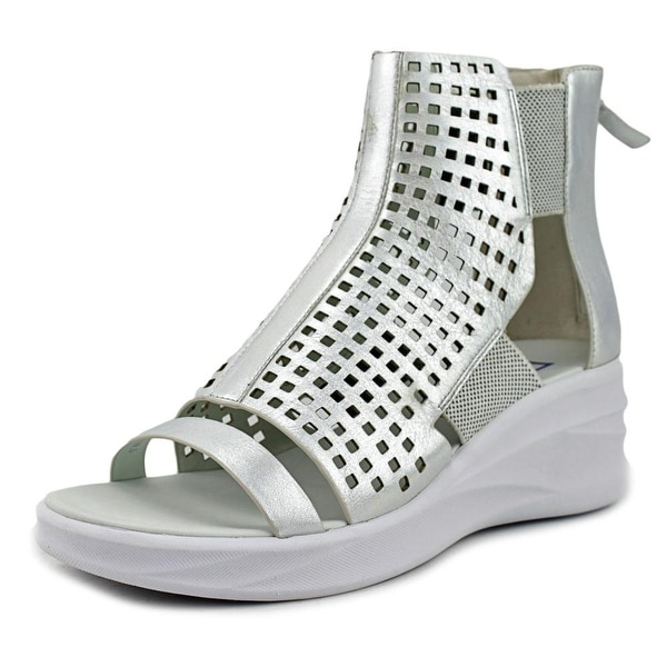 Elie Tahari Arena Women Open Toe Leather Silver Wedge Sandal