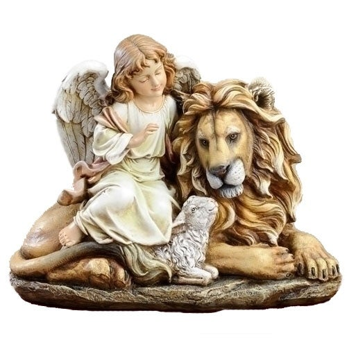Angel with Lion and Lamb Figure