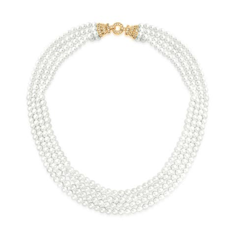 Deco Style Bridal Multi Strand Necklace Collar Imitation Pearl Gold
