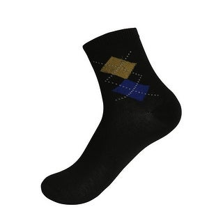 Men Lightweight Argyle Prints Crew Socks 10 Pack 10-13 Black