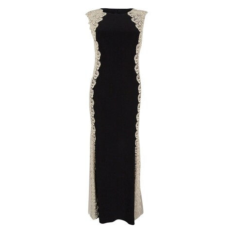 XSCAPE Women's Petite Crochet Lace Column Gown - Black/gold
