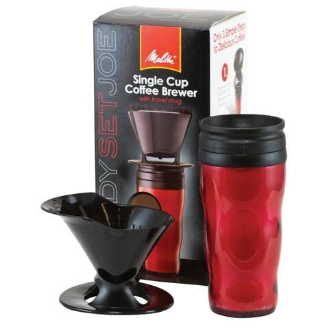 Melitta 64014 Red Pour-Over Travel Brew Mug Set Pour Over Travel Mug Coffeemaker