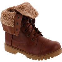 Anna Bella Marie Dallas-11 Womens Fur-Lined Foldable Cuff Lace Up Mid-Calf Combat Boots - tan_serrated sole