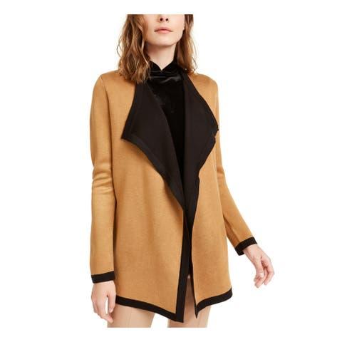 ANNE KLEIN Womens Brown Long Sleeve Open Cardigan Sweater Size L