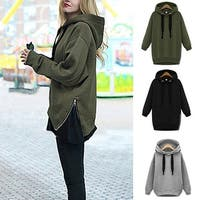 Solid Long Sleeve Loose Drawstring Hoodie