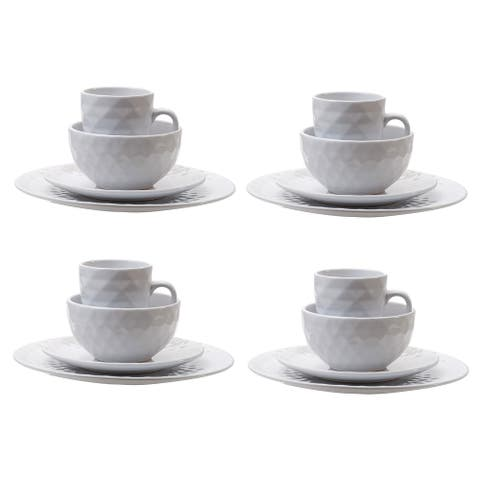 A&B Home Gloss White 16 Piece Durable Dinnerware Set