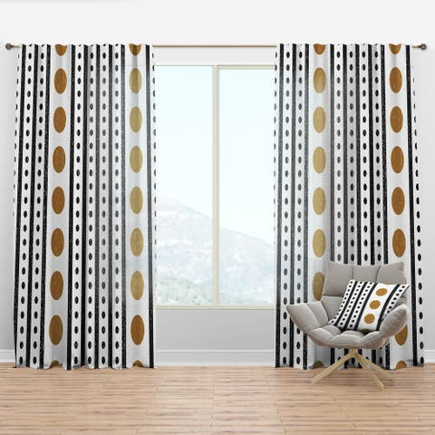 Designart 'Retro Geometrical Abstract Minimal Pattern VII' Mid-Century Modern Curtain Panel