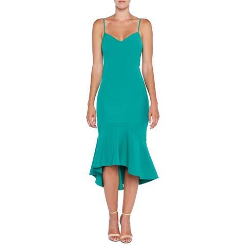 Bardot Women Dress Enchanted Green Size XS Sheath Flunce Hem Tank Midi