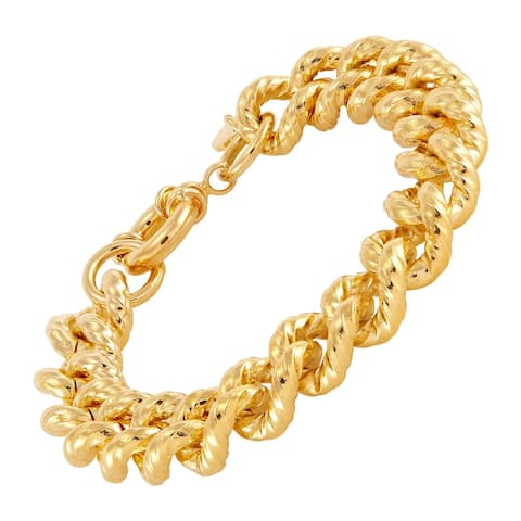 """12 mm Twisted Curb Chain Bracelet in 18K Gold-Plated Bronze, 7.75"""" - Yellow"""