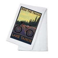 Lake Tahoe, CA - Ride the Trails - LP Artwork (100% Cotton Towel Absorbent)