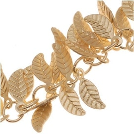 Matte Gold Plated 7mm Leaf Charm Chain - Bulk By The Inch