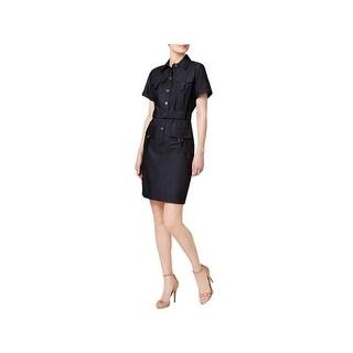 Calvin Klein Womens Petites Shirtdress Short Sleeves Knee-Length