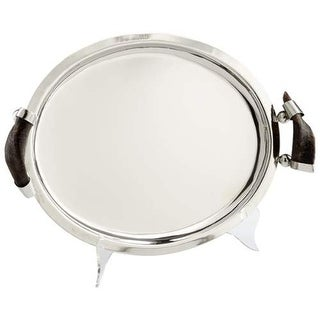 Cyan Design Small Himalayan Tray Himalayan 18.25 Inch Wide Stainless Steel and Horn Tray Made in India