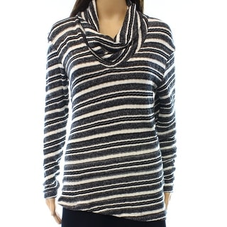 Three Dots NEW Black Women's Size Medium M Striped Cowl Neck Sweater