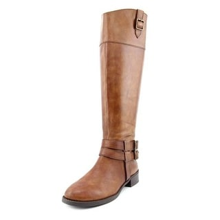 INC International Concepts Fahnee Women Round Toe Leather Brown Knee High Boot