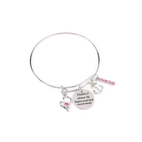RIAH FASHION Inspirational Message Wire Bangle Charm Bracelets
