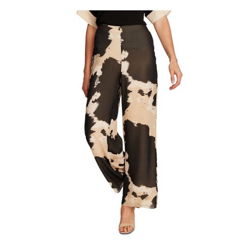 VINCE CAMUTO Womens Brown Zippered Printed Wide Leg Pants Size 10