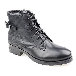 Eyekepper Women's Leather Upper Lace-up Side Zipper and Black Snake Back Printed Heeled Ankle Boots Black