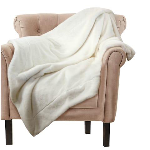 Throw Blanket with Faux Fur Embellishment, White