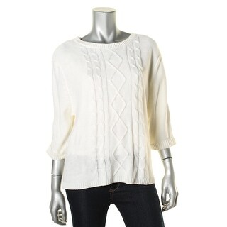 NY Collection Womens Cable Knit 3/4 Sleeves Crewneck Sweater - L