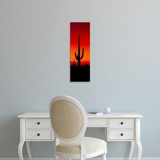 Easy Art Prints Panoramic Images's 'Silhouette of Saguaro Cactus at sunset, Arizona, USA' Premium Canvas Art