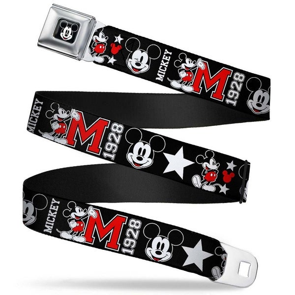 Mickey Mouse Face Full Color Black Classic Mickey Mouse 1928 Collage Black Seatbelt Belt