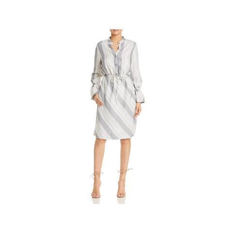 Donna Karan Womens Shirtdress Striped Drawstring
