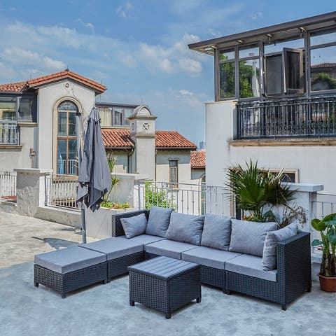Outdoor Furniture 7 Piece Cushion PE Rattan Sofa Set