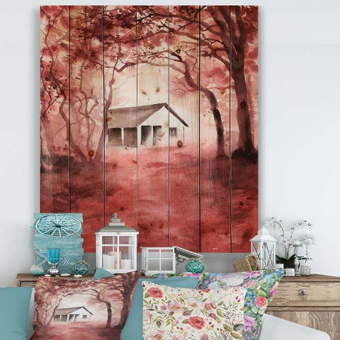Designart 'House In Red Autumn Woods' Cabin & Lodge Print on Natural Pine Wood