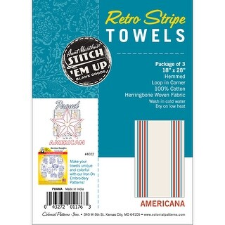 "Stitch 'Em Up Retro Stripe Towels 18""X28"" 3/Pkg-Americana Stripe"