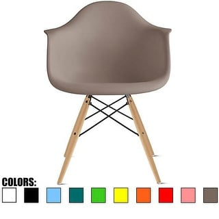2xhome Grey Eames Dining Room Arm Chair With Natural Wood Eiffel Style Legs