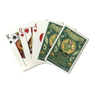 Leprechaun Irish Pub - Vintage Sign - LP Artwork (Poker Playing Cards Deck)
