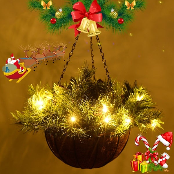 Costway 12-inch Hanging Basket Christmas Decor Battery-operated LED Lights & Pine Cones