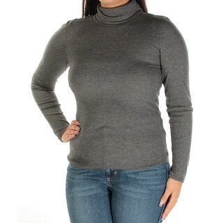 PLANET GOLD Womens New 1857 Gray Long Sleeve Turtle Neck Top L Juniors B+B