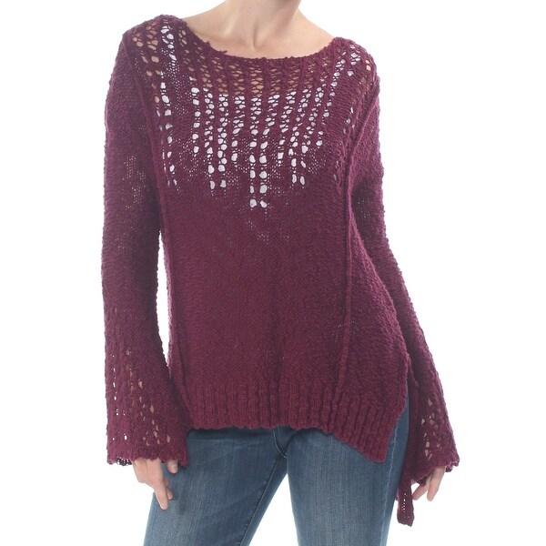ARIZONA Womens Maroon Knit Bell Sleeve Jewel Neck Sweater Size S. Opens flyout.