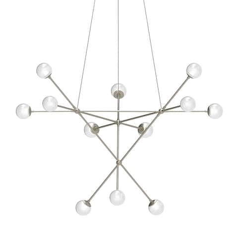Sonneman Proton Alpha Satin Nickel LED Pendant with White Crushed Glass