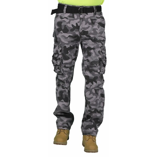 Most Official Seven Men's Belted Black Camouflage Cargo Pant