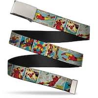 "Marvel Comics Blank Chrome 1.0"" Buckle Iron Man Comic Strip Webbing Web Belt 1.0"" Wide"