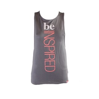 Energie Juniors Frost Grey Madison Mesh Graphic Tank Top XS