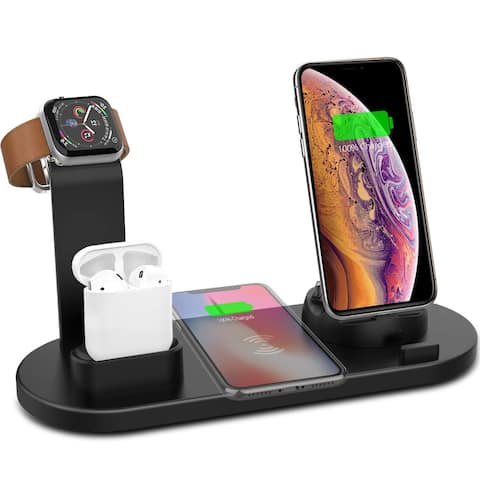 3-in-1 (10W) Wireless Charging Pad - iWatch Charger, EarPod, & Universal SmartPhone - Rotating Dock (USB-C, microUSB, Lightning)
