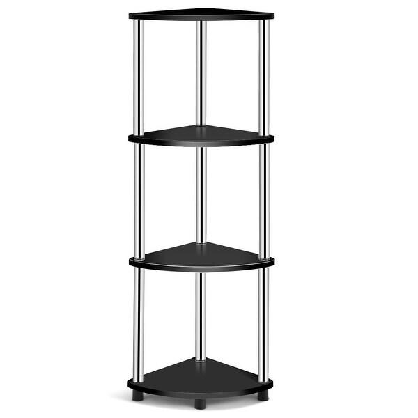 Costway 4-Tier Corner Shelf Light Duty Shelf Living Room Display Stand Storage RacKBlack
